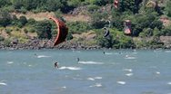 Stock Video Footage of MVI 0035-long shot of male kiteboarder riding tow