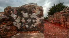 Interior walls at Nimrod Fortress in Israel. Stock Footage