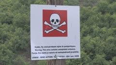 Danger landmine sign Stock Footage