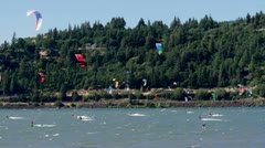 MVI 0501-static shot of riders out on river Stock Footage