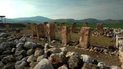 Ruins with upright stone pillars in Israel. Stock Footage