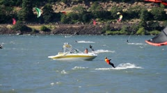 MVI 0537-boat out among kiteboarders Stock Footage