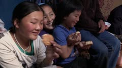 Mongolia: Children Eat Stock Footage
