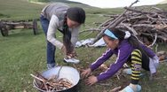 Stock Video Footage of Mongolia: Gathering Firewood