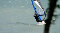 MVI 0275-kitesurfer getting up out of water Stock Footage
