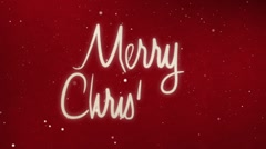 Drawing Merry christmas text with snow and stars Stock Footage