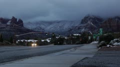 Early Morning Snow and Clouds on Sedona's Highway 89a Stock Footage