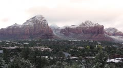 Morning Sunlight through the Clouds over the Snowy Mountains of Sedona 3 Stock Footage
