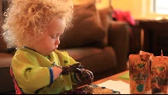 2 year old Fingerpainting Stock Footage