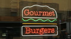 Gourmet burgers sign. Stock Footage