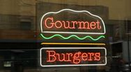 Stock Video Footage of Gourmet burgers sign.