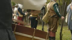 1600's drummer with soldiers - drums, military Stock Footage
