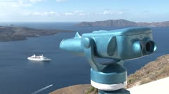 View over the town of Thira, Santorini - stock footage