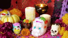 Mexican Day Of The Dead Offering Stock Footage