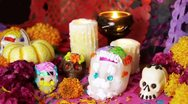 Stock Video Footage of Mexican Day Of The Dead Offering