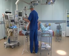 Stock Video Footage of Preparation for cesarean section