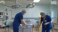 Preparation for cesarean section Stock Footage