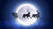 Stock Video Footage of Santa with reindeer flies over moon