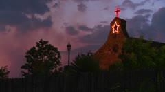 An adobe church at dusk. Stock Footage