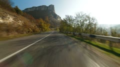 Driving on  winding mountain road - stock footage
