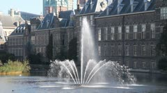 Fountain at Dutch Parliament in The Hague Stock Footage