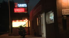 The Saints and Sinners bar and lounge, night. Stock Footage