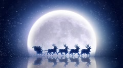 Santa with reindeer rides over moon Stock Footage