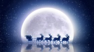 Stock Video Footage of Santa with reindeer rides over moon