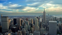 Manhattan New York City NYC Empire State Building Beautiful Establishing Shot Stock Footage