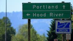 MVI 9601-Portland-Hood River Road Sign Stock Footage