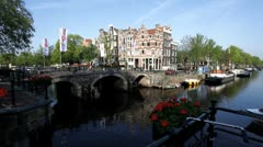Canals and bridges in Amsterdam, Europe Stock Footage