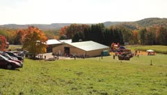 Pan of farm in the West Virginia mountains Stock Footage