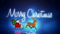 Santa with reindeers Stock Footage