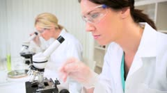 Young Research Assistants in Medical Laboratory - stock footage