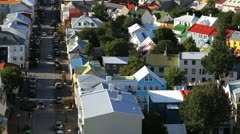 Houses in a city, Reykjavik, Iceland - stock footage