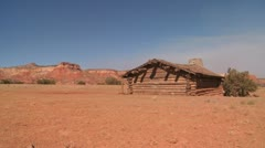Nice traveling shot of a desert cabin. Stock Footage
