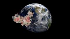 China map flag over rotating globe animation Stock Footage