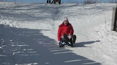 Fast sledge ride Stock Footage