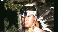Native American Indian Warrior Man Full Headdress 1960s Vintage Film Movie 1245 - stock footage