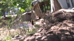 Home washed away and destroyed by flood Stock Footage