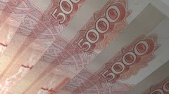 Numeric Value Russian 5000 Ruble Note, looping. - stock footage