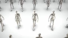 Metal women walking Stock Footage