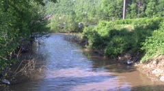 Creek swollen with water Stock Footage