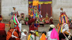 Masked dance festival, Wachuk Monastery, Sichuan, China Stock Footage