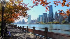 NYC skyline in the Fall - stock footage