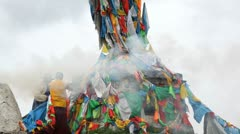 Wind Horse of prayer flags, Tagong, China - stock footage