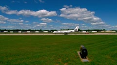 Corporate jet taxing on tarmac Stock Footage