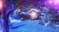 Stock Video Footage of Christmas Snowy Scene 03 snowing