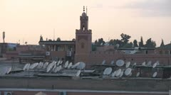 Satellite dishes on the rooftops in Marrakech Stock Footage