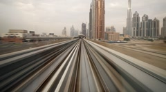 Modern Driverless Dubai Elevated Rail Metro System, UAE, T/Lapse Stock Footage
